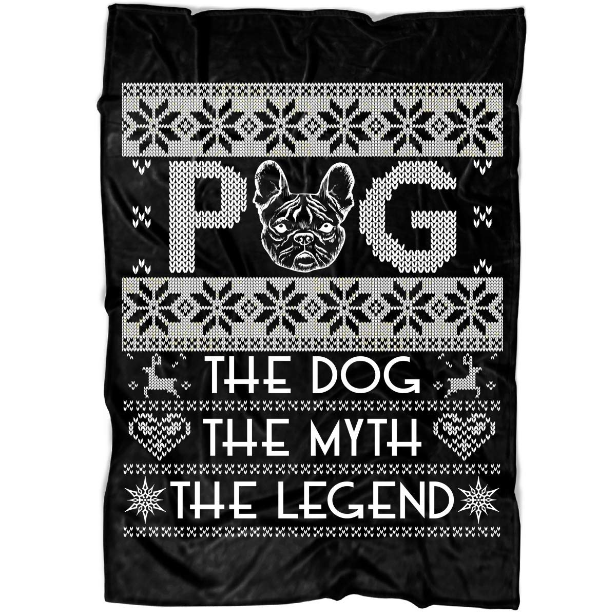 "COLUSTORE Pug Soft Fleece Throw Blanket, The Dog Fleece Luxury Blanket (Medium Fleece Blanket (60""x50"") - Black)"