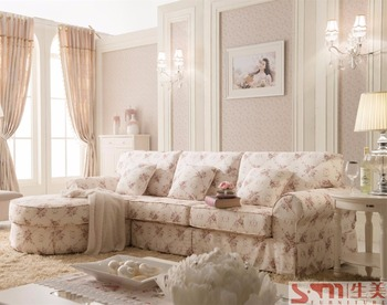 Nice Right Side Country Style Sofas Flower Fabric Sofas Cheap Price Sofas