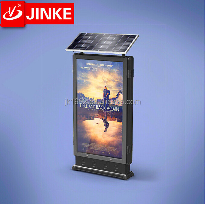 Metal Frame Roadside Standing Led Backlit Rotating Posters Solar Powered Light Box Signs