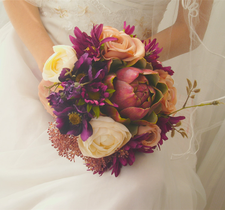 Inexpensive Flowers For Wedding Bouquets: 2016 Bridal Bridesmaid Wedding Bouquet Cheap New Romantic