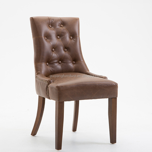 Solid Wood Round Circle Handle Dining Chair With Brown Pu Leather
