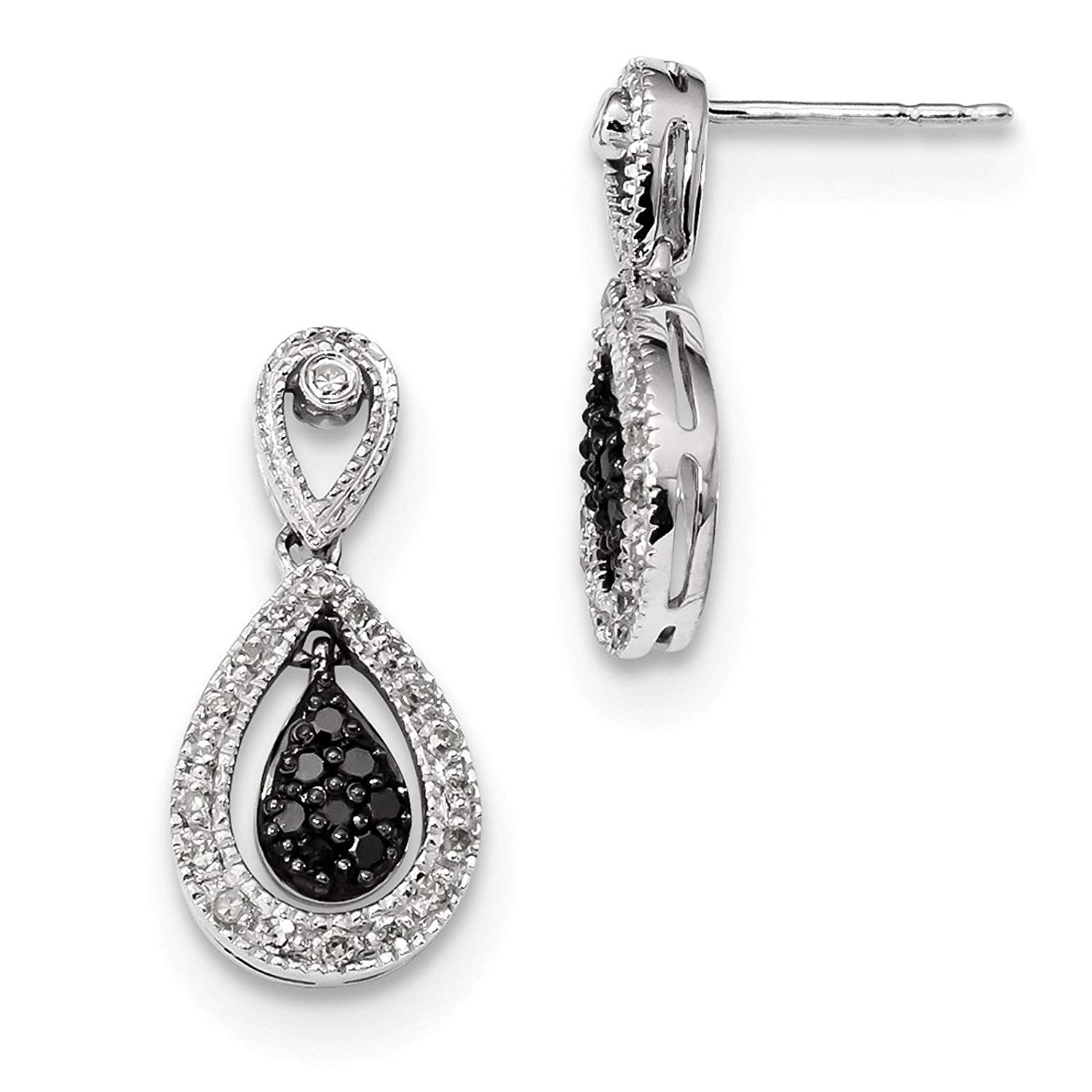 5a0b0ad4281b7 Get Quotations .925 Sterling Silver Rhodium-plated Black   White Diamond  Dangle Post Earrings by White .