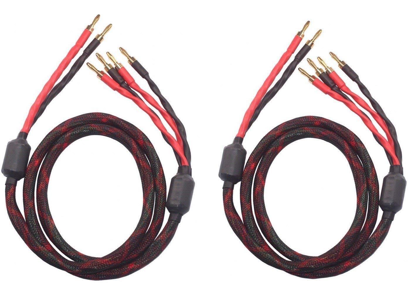 k4B-2B Bi-Wire Speaker Cable (2 banana plugs - 4 banana plugs), 1pair set (total 12banana plugs), k4B-2B