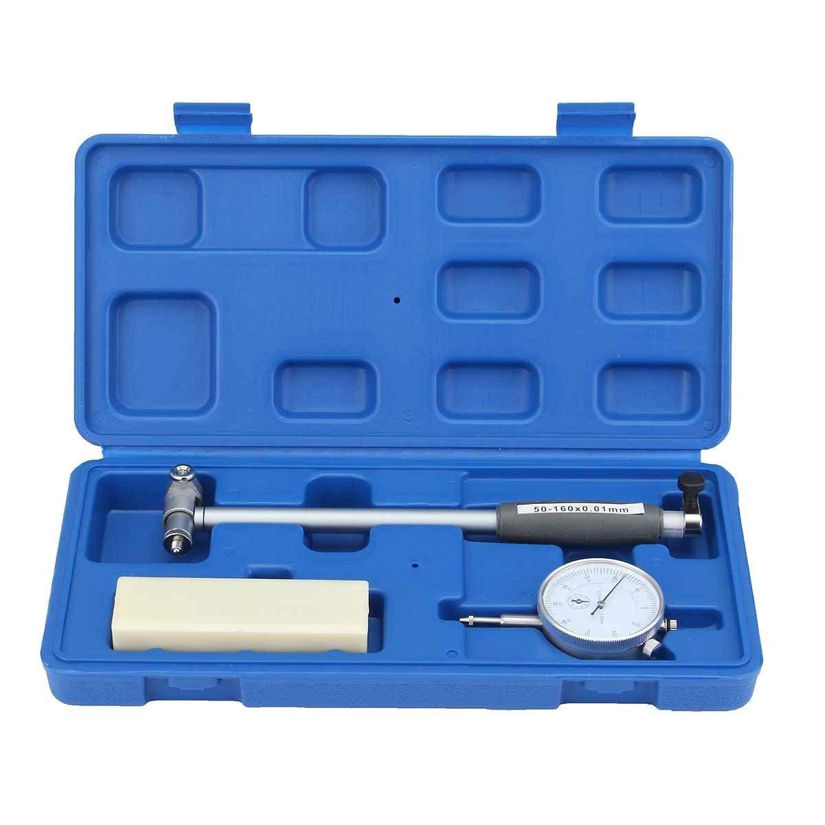 Inner Diameter Dial Bore Gauge Range 50-160MM Indicator Table - Motorcycle Maintenance & Repair Tools - 1 X Dial Bore Gauge, 1 X Guide Bridge
