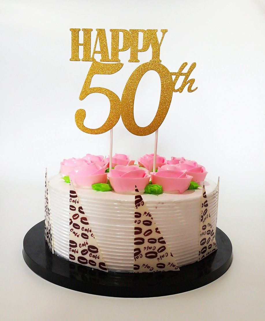 Get Quotations Gold GlitterHappy 50th Birthday Cake Topper