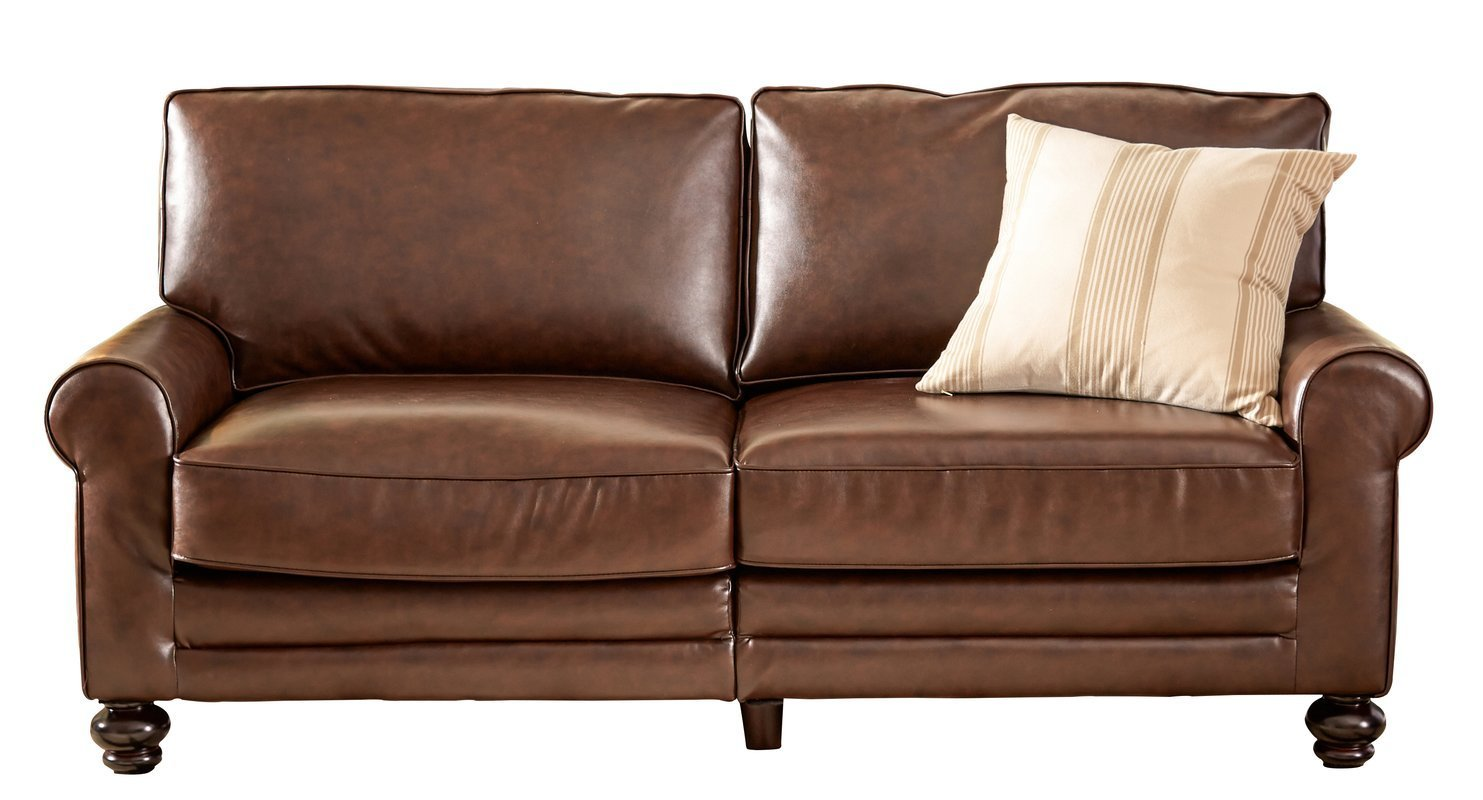 Sofa With Rolled Arms Bun Feet And Chocolate Brown Bonded Leather  Upholstery Genuine Leather Fibers To