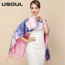 Autumn and Winter Thick Spray Scarf Long Double-sided Cashmere Women Silk Scarf Shawl