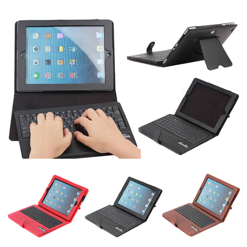 Litchi pattern detachable leather case with ABS bluetooth keyboard for iPad 4 with holder