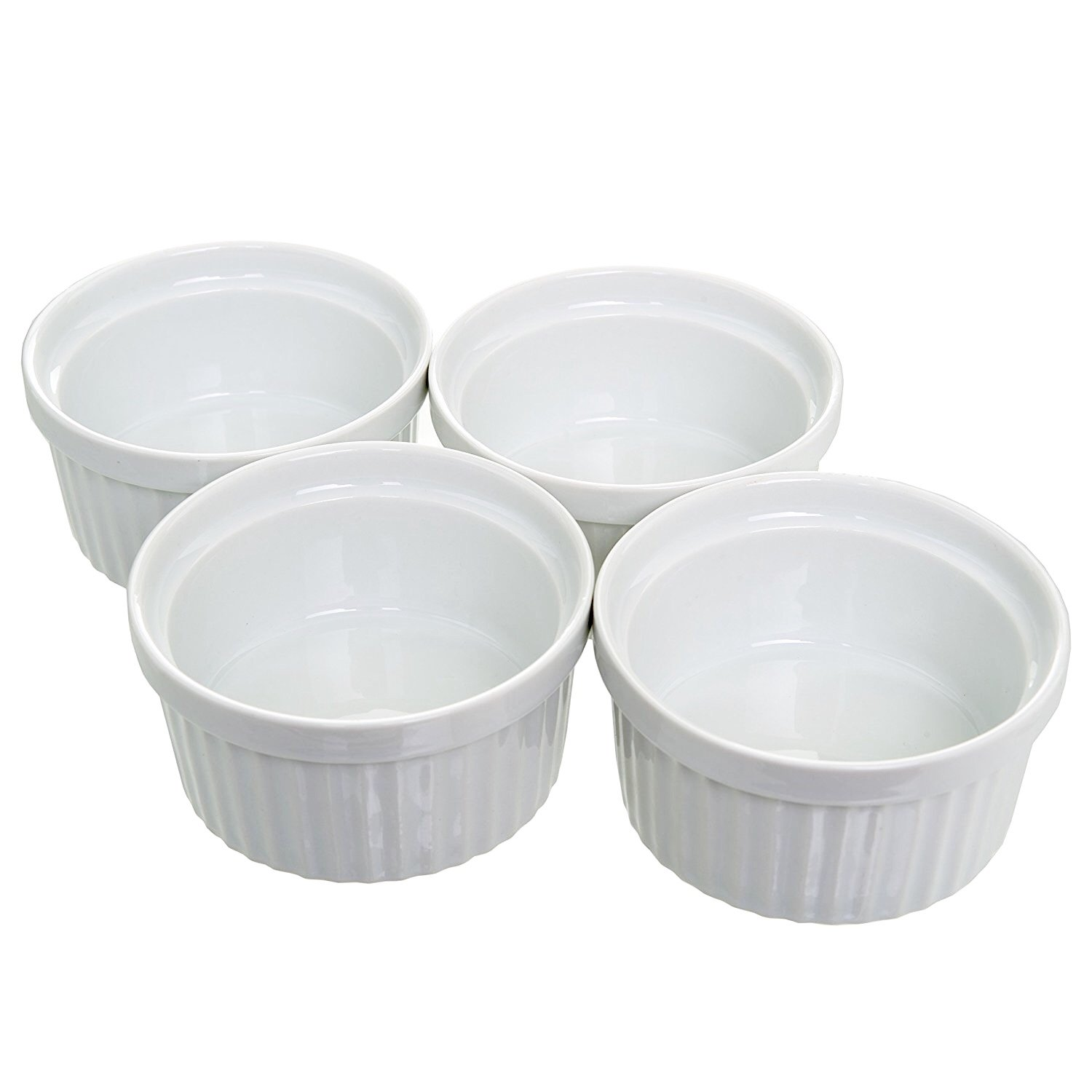 (Set of 4) 4 oz. Porcelain Ramekins, White, Bakeware, Souffle Cups Dishes, Creme Brulee, Pudding, Custard Cups, Desserts, by California Home Goods
