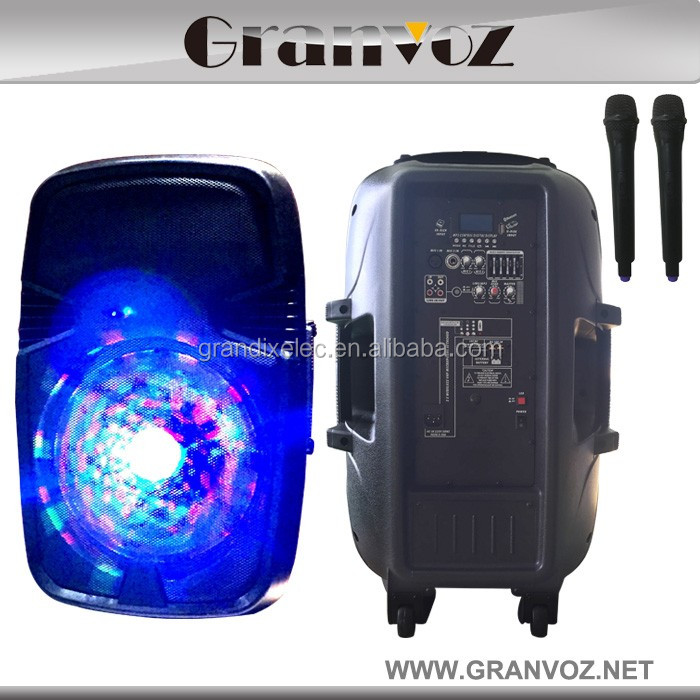 "15"" Hot selling high quality durable portable speaker with handle and wheels with rechargeable battery 12V"
