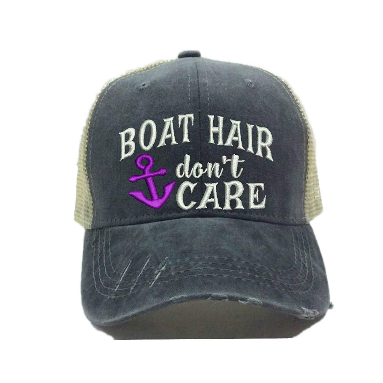 Adult Custom Funny Trucker Hat Boat Hair Don't Care Lake/River Baseball Cap (Purple)
