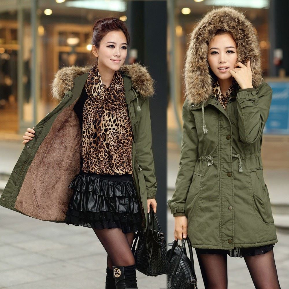 2016 New Women's Military Great Rabbit Fur Coat With Fox Fur Collar walson