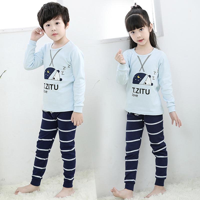 カスタム少女少年モンキー子供パジャマ漫画プリントターコイズフラワーポット衣服卸売幼児服