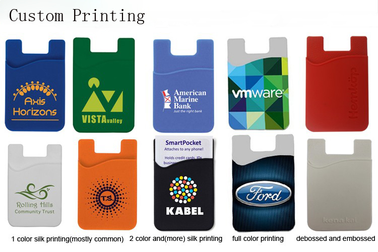 Brand Own Logo Silicon Phone Case Credit Card Holder Wallet with U Shaped Stand Adhesive Mobile Phone Stand Holder