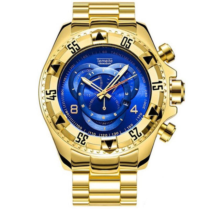 TEMEITE men Big dial watches luxury gold steel quartz men's wristwatches waterproof calendar temeite brand man watch