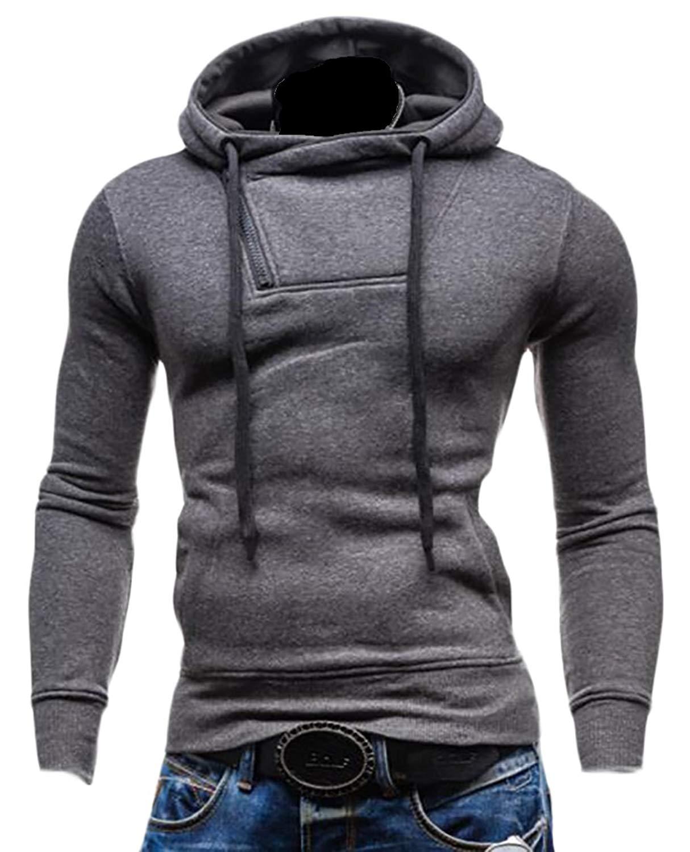 Gnao Mens Casual Quarter-Zip Fleece Lined Thicken Hoodies Pullover Sweatshirts