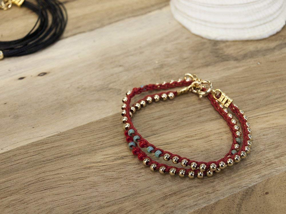 Women's Wrap Beaded Bracelet In Red, Turquoise and Gold Filled, Handmade Stacked Boho Chic Jewelry