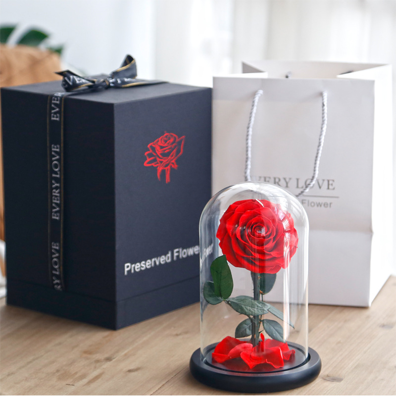 Diameter 9-10cm Preserved Rose In Diameter 20 Height 30cm Glass Dome Happy Valentine Gifts Preserved Rose Dome