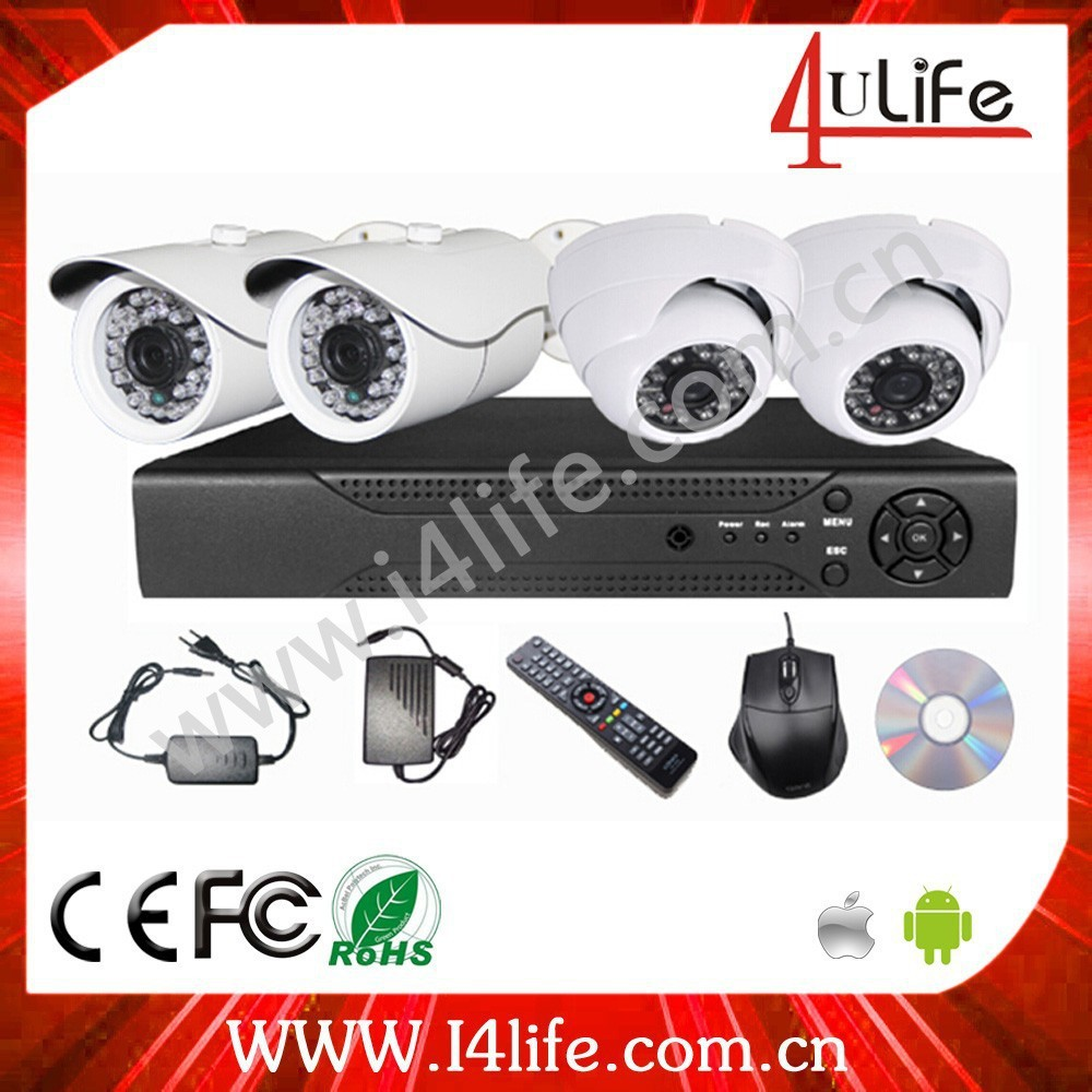 Wholesale Price ONVIF Dome Camera NVR KIT/ P2P POE h.264 NVR Kits 4pcs IPcamera