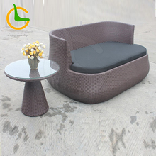 Round rattan bed outdoor pool bed for 2 seaters sofa with side table