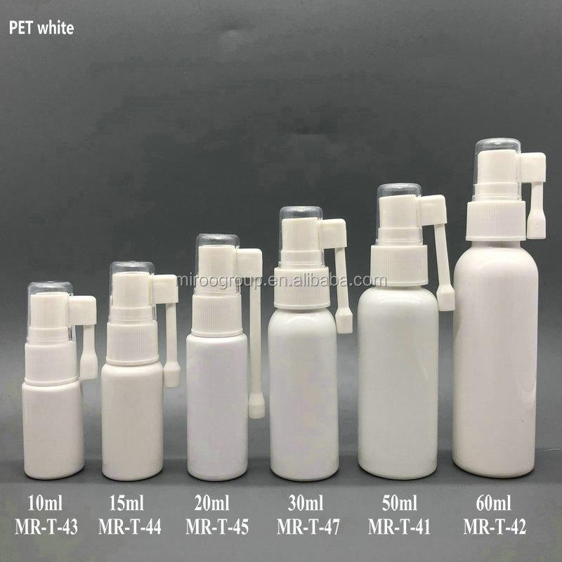 Farmaceutico 10 ml HDPE bianco pompa bocca bottiglia dello spruzzo con ugello gola
