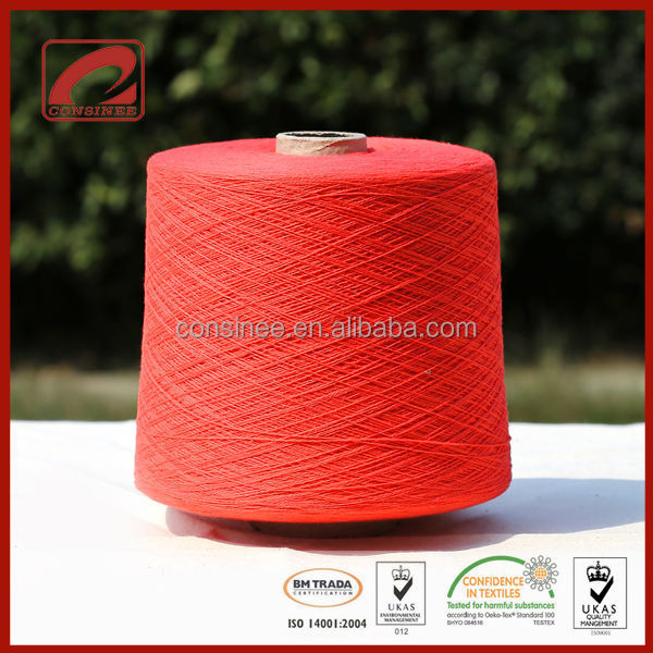 Nm2/26 70% mercerized wool 30%cashmere yarn for machine knitting(TOMATO NB-7726)