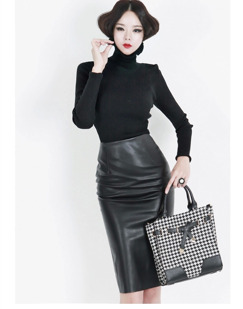f7f3db612c Get Quotations · 7XL Plus Size Faux Leather Pencil Skirt High Waist Women  Black Formal Office Skirts Saias Femininas