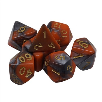 Plastic Polyhedral 7-Die Dice Set for Dungeons and Dragons Game with Black Pouch