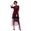 Wholesale women long ruffle sleeve red dress party evening dress