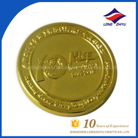 Custom casting gold plated 10 years anniversary coin