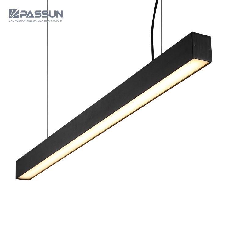 Modern Commercial Office Lighting Led Light Fixtures Ceiling Hanging Chandelier Linear Pendant Lamp Meeting Dining Room