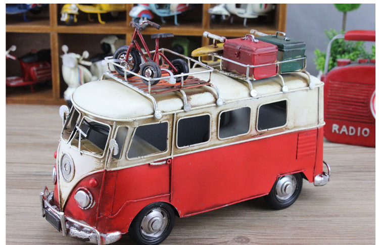 High Quality Antique Iron Handmade Metal Craft Vintage Bus Model Bicycle & Luggage On Top Gift Wholesale Home Decoration