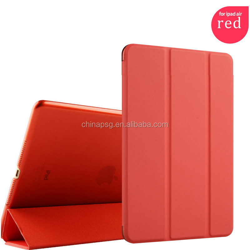 competitive ultrathin three fold pu leather case for ipad air 2 for ipad 6 hard case
