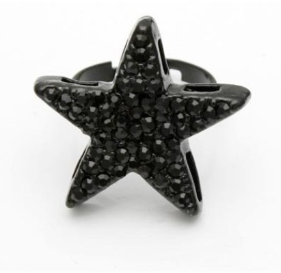 LZ Jewelry Hut R22 The 2016 Fashion New Arrival Big Bright Star Adjustable Black Rings For
