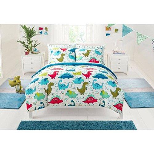 7 Piece Multi Kids Dinosaurs Themed Comforter Full Set, All Over Colorful Cute Stegosaurus Pattern, Gorgeous Jurassic Animal Print, Pretty Dino Paw Reversible Bedding, Bright Colors Blue Green Orange