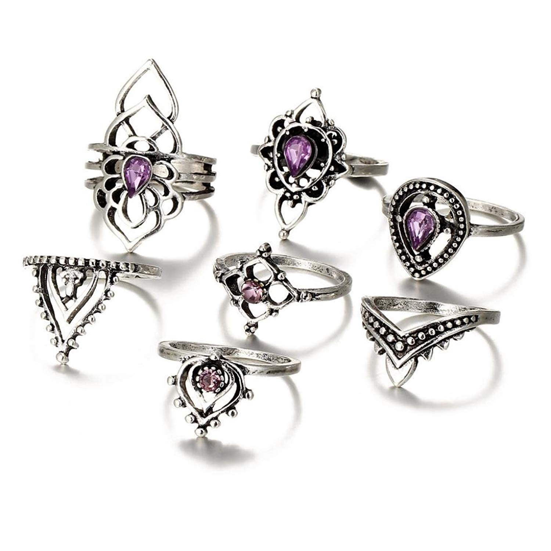 Finger Ring Set, Botrong 7pcs/Set Women Bohemian Vintage Silver Stack Rings Above Knuckle Blue Rings Set