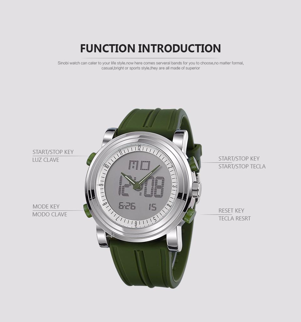 SINOBI Analog Digital Sport Watches For Men Silicone Mens ...