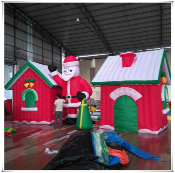 funny kids outdoor decoration blow up santa grotto inflatable christmas house for sale
