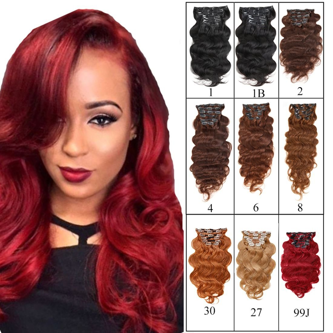 """Full Head Clip in Hair Extensions Body Wave Human Hair Brazilian Virgin Hair Double Weft Black Brown Blonde Burgundy Copper Red 7Peices/set 70g-160g (70g 18"""", Burgundy)"""