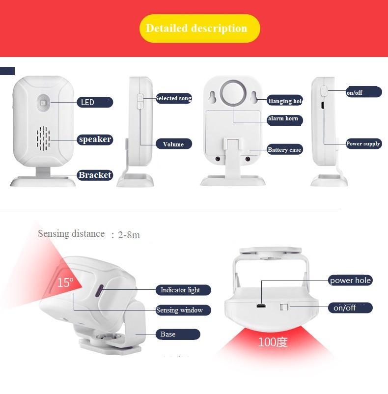infravermelho sensor de movimento alarme 280 m