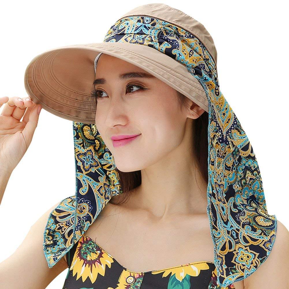 Get Quotations · Ladies Summer Beach Cotton Big Brim Foldable Sun Floppy  Sunblock Hat Hats Visor 2c7c63937538