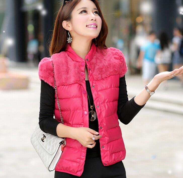 8 цветов осень и зима искусственного пэчворк полиуретан короткая дизайн жилет женщины мех хлопок вниз жилет куртка пальто