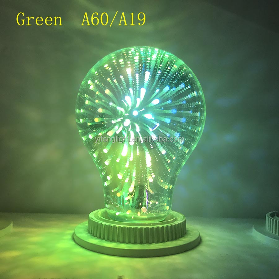 017 New products Fancy Design Lamp 3.5W A60 3D Fireworks rgb led bulb