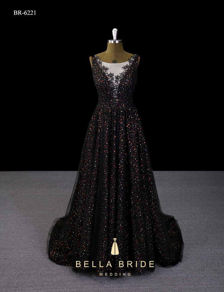 Guangzhou Best Evening Gown Designers New Sparkly Black Evening ...