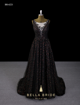 Guangzhou Best Evening Gown Designers New Sparkly Black Evening