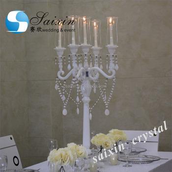 Wholesale Wedding Centerpieces Hurricane White Crystal Candlestick