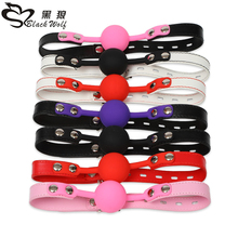2017 Black wolf brand wholesale ring sexy china gag with item harness balls sex toy silicone adult mouth ball gag for females