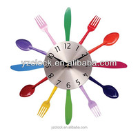 2015 kitchen fork and spoon wall clock