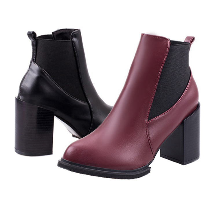 new fashion ankle boots heels suede women black red mixed colors round toe PU leather short shoes rubber girls work riding shoes