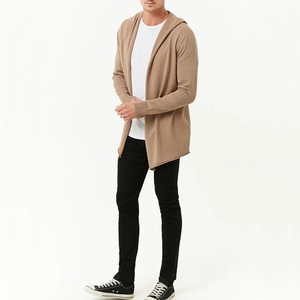 Mens Knitted Longline Hooded Long Sleeve Cardigan